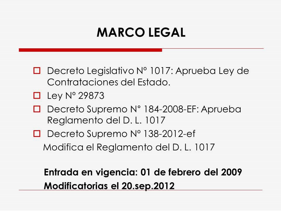 Decreto Legislativo Nº 1017: Aprueba Ley de Contrataciones del Estado. Ley Nº 29873 Decreto Supremo N° 184-2008-EF: Aprueba Reglamento del D. L. 1017