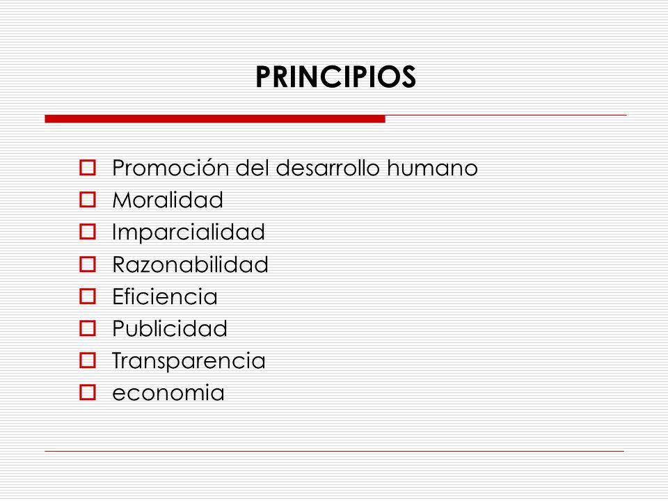 Promoción del desarrollo humano Moralidad Imparcialidad Razonabilidad Eficiencia Publicidad Transparencia economia PRINCIPIOS