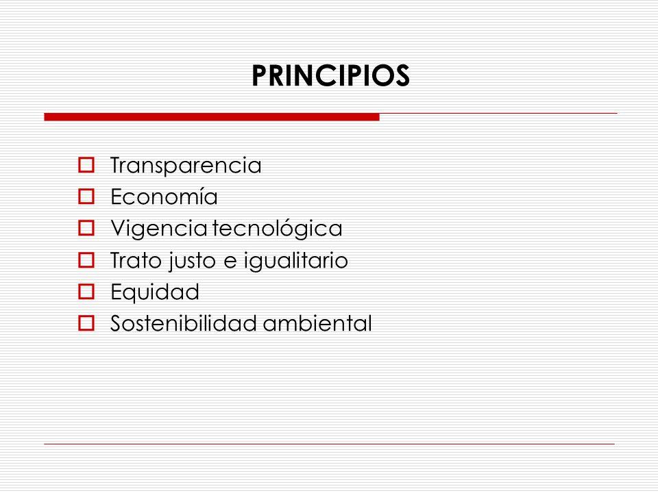 Transparencia Economía Vigencia tecnológica Trato justo e igualitario Equidad Sostenibilidad ambiental PRINCIPIOS