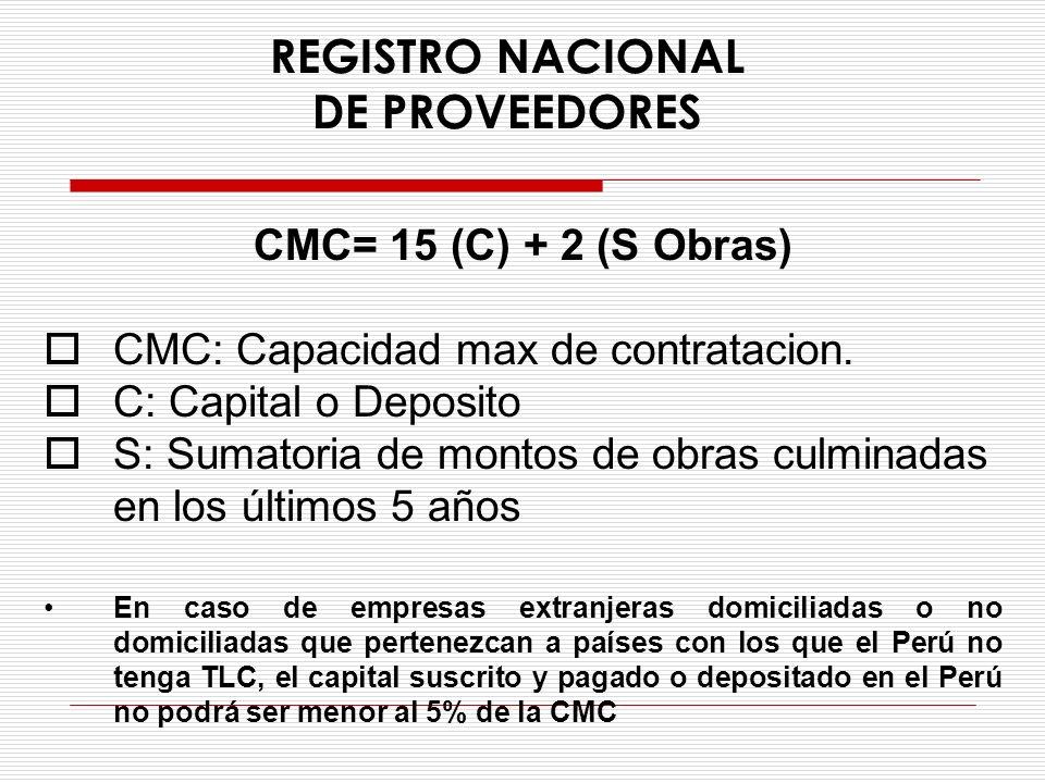 REGISTRO NACIONAL DE PROVEEDORES CMC= 15 (C) + 2 (S Obras) CMC: Capacidad max de contratacion. C: Capital o Deposito S: Sumatoria de montos de obras c