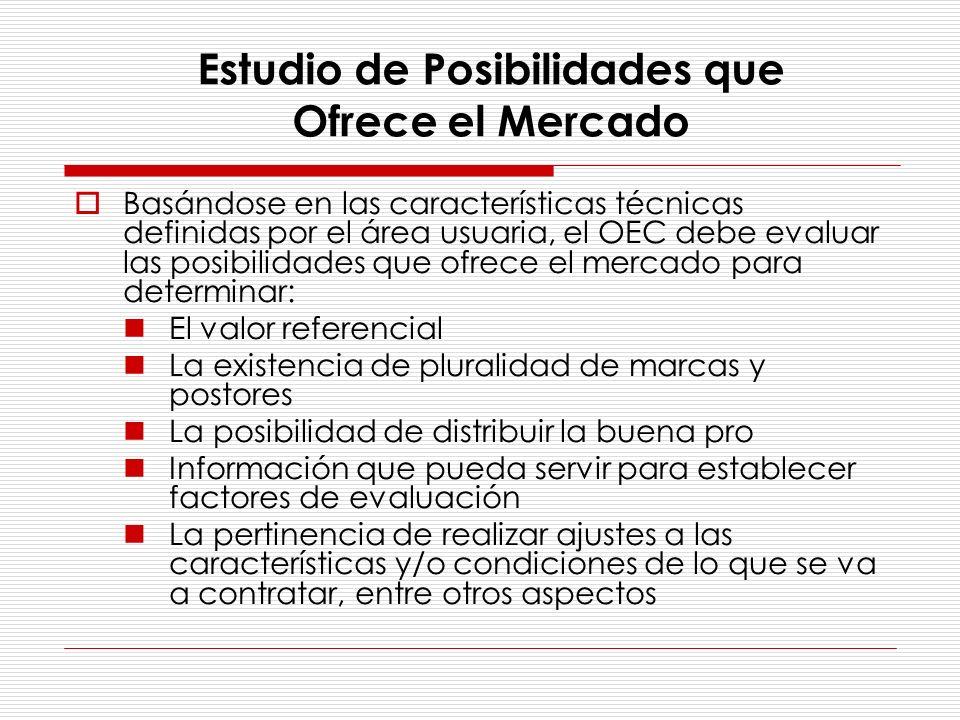 Estudio de Posibilidades que Ofrece el Mercado Basándose en las características técnicas definidas por el área usuaria, el OEC debe evaluar las posibi