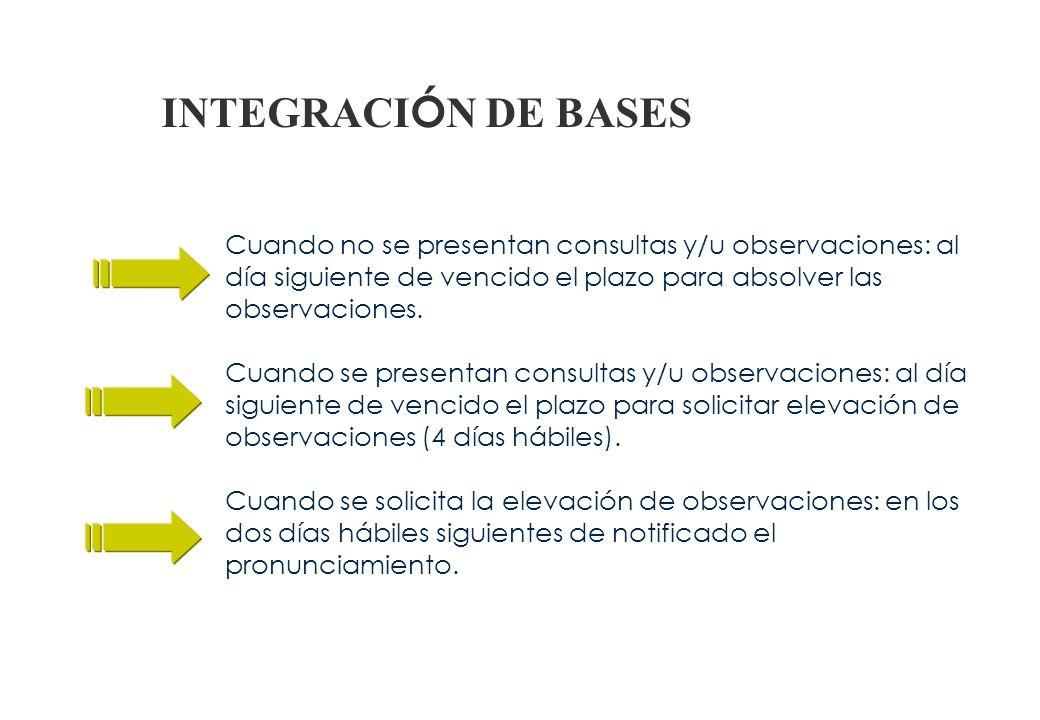 ELEVACIÓN DE BASES Monto < a 300 UIT - Titular de la Entidad Monto > a 300 UIT - OSCE OBSERVACIONES Elevación de observaciones al titular de la Entida