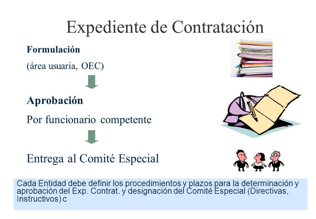 Expediente de Contratación Formulación (área usuaria, OEC) Aprobación Por funcionario competente Entrega al Comité Especial Cada Entidad debe definir los procedimientos y plazos para la determinación y aprobación del Exp.