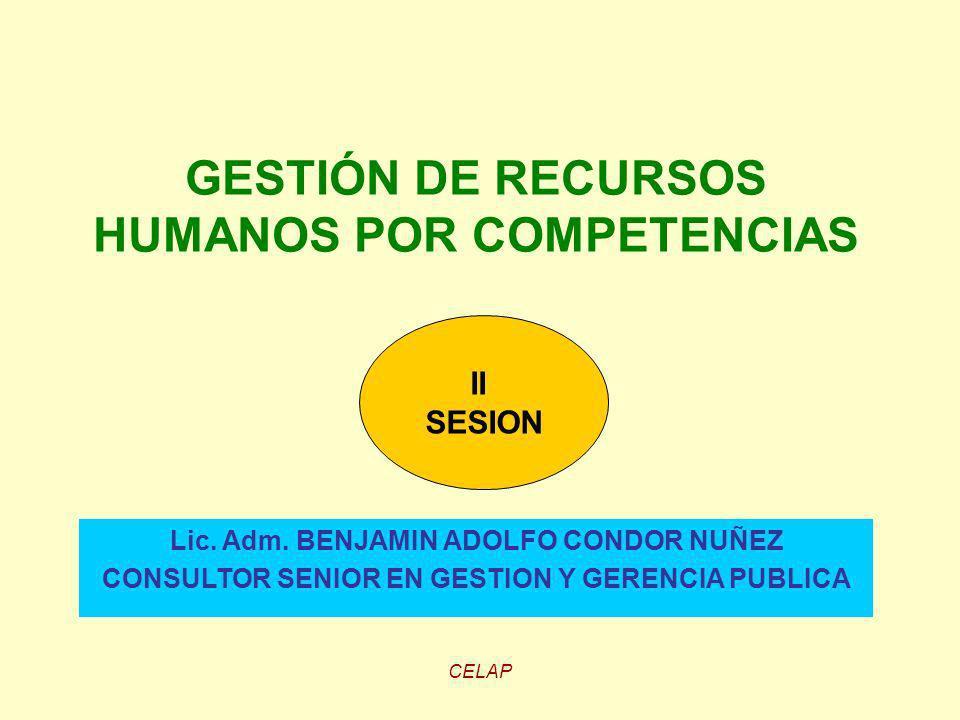 CELAP GESTIÓN DE RECURSOS HUMANOS POR COMPETENCIAS Lic. Adm. BENJAMIN ADOLFO CONDOR NUÑEZ CONSULTOR SENIOR EN GESTION Y GERENCIA PUBLICA II SESION