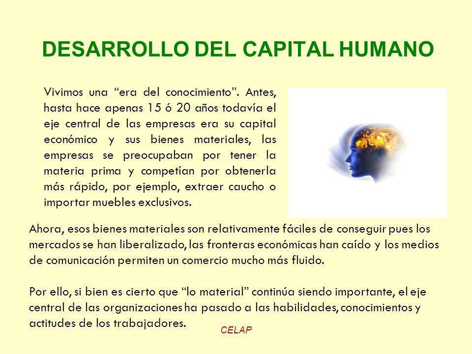CELAP DESARROLLO DEL CAPITAL HUMANO Vivimos una era del conocimiento. Antes, hasta hace apenas 15 ó 20 años todavía el eje central de las empresas era