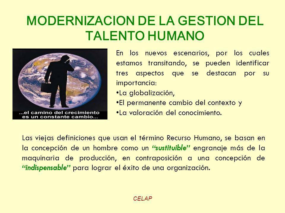 CELAP MODERNIZACION DE LA GESTION DEL TALENTO HUMANO En los nuevos escenarios, por los cuales estamos transitando, se pueden identificar tres aspectos