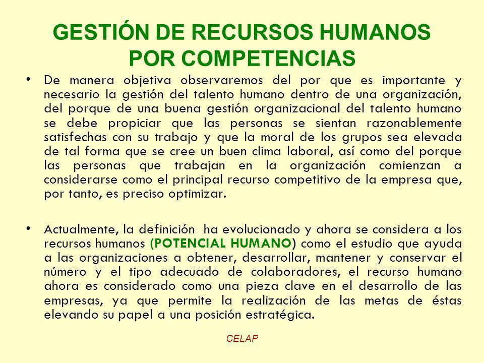 CELAP GESTIÓN DE RECURSOS HUMANOS POR COMPETENCIAS De manera objetiva observaremos del por que es importante y necesario la gestión del talento humano
