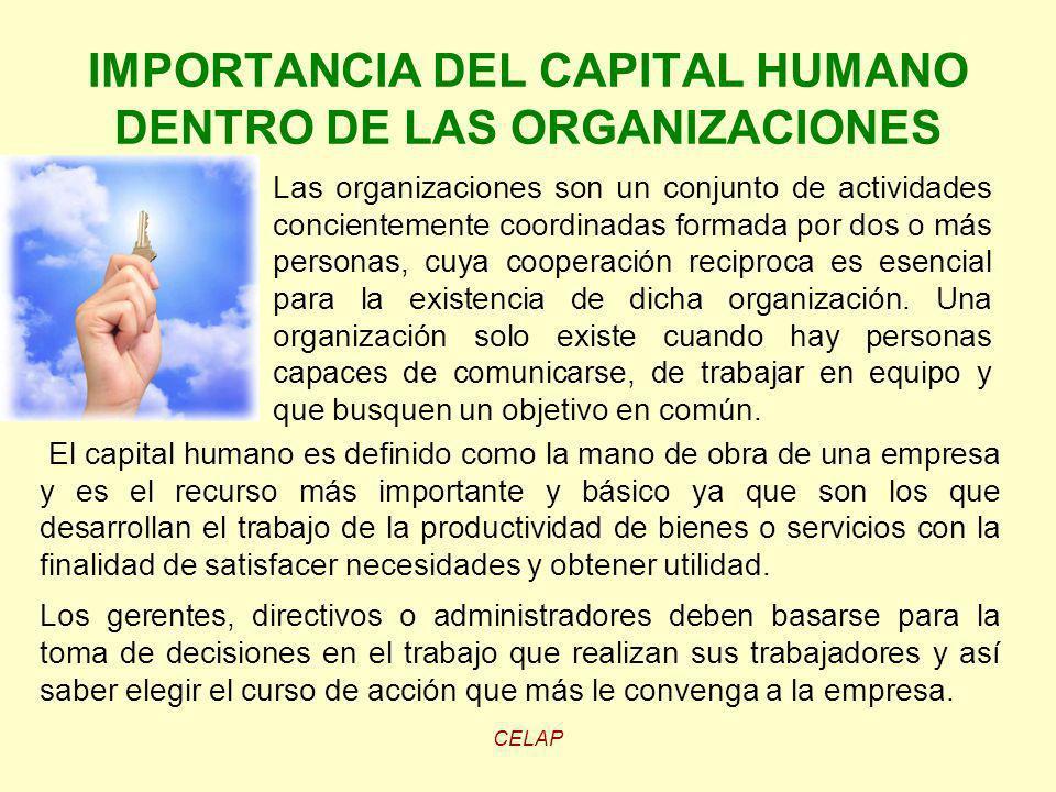CELAP IMPORTANCIA DEL CAPITAL HUMANO DENTRO DE LAS ORGANIZACIONES El capital humano es definido como la mano de obra de una empresa y es el recurso má