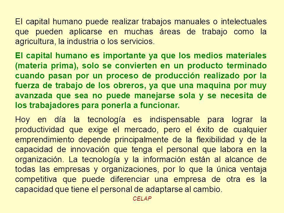 CELAP El capital humano puede realizar trabajos manuales o intelectuales que pueden aplicarse en muchas áreas de trabajo como la agricultura, la indus