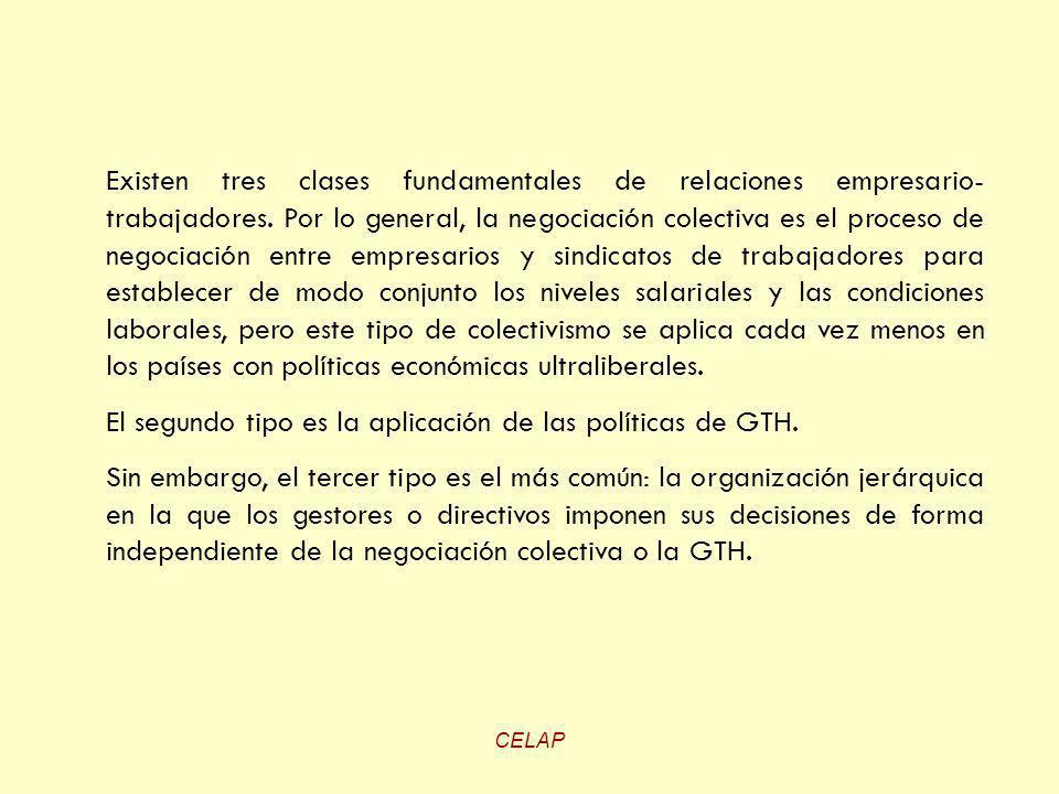 CELAP Existen tres clases fundamentales de relaciones empresario- trabajadores. Por lo general, la negociación colectiva es el proceso de negociación