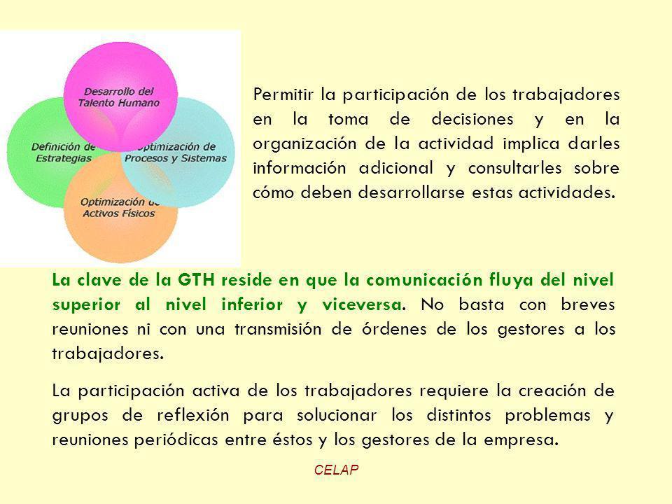 CELAP La clave de la GTH reside en que la comunicación fluya del nivel superior al nivel inferior y viceversa. No basta con breves reuniones ni con un