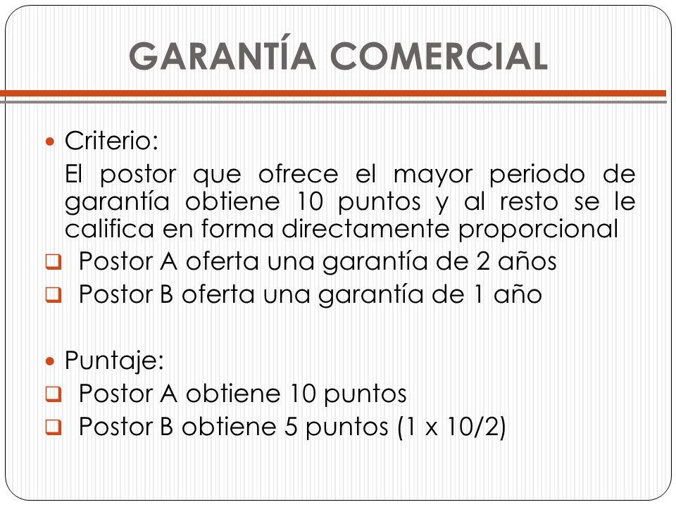 GARANTÍA COMERCIAL Criterio: El postor que ofrece el mayor periodo de garantía obtiene 10 puntos y al resto se le califica en forma directamente propo