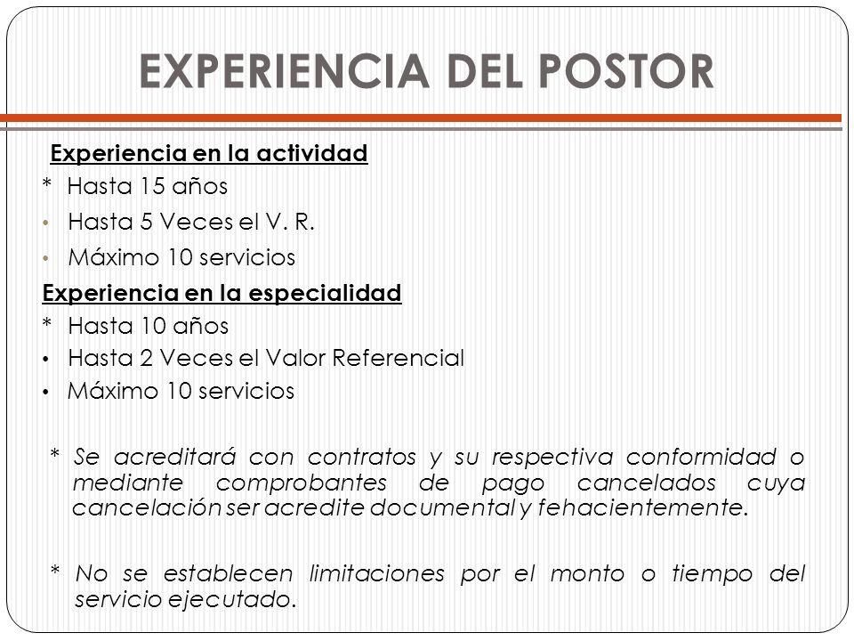 Experiencia en la actividad * Hasta 15 años Hasta 5 Veces el V. R. Máximo 10 servicios Experiencia en la especialidad * Hasta 10 años Hasta 2 Veces el