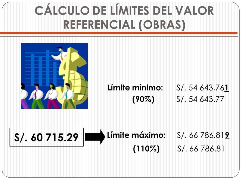 CÁLCULO DE LÍMITES DEL VALOR REFERENCIAL (OBRAS) Límite mínimo: S/. 54 643,76 1 (90%) S/. 54 643.77 Límite máximo: S/. 66 786.81 9 (110%) S/. 66 786.8