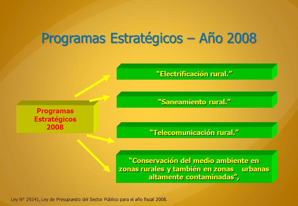 Programas Estratégicos – Año 2008 Ley N° 29241, Ley de Presupuesto del Sector Público para el año fiscal 2008. Electrificación rural. Telecomunicación