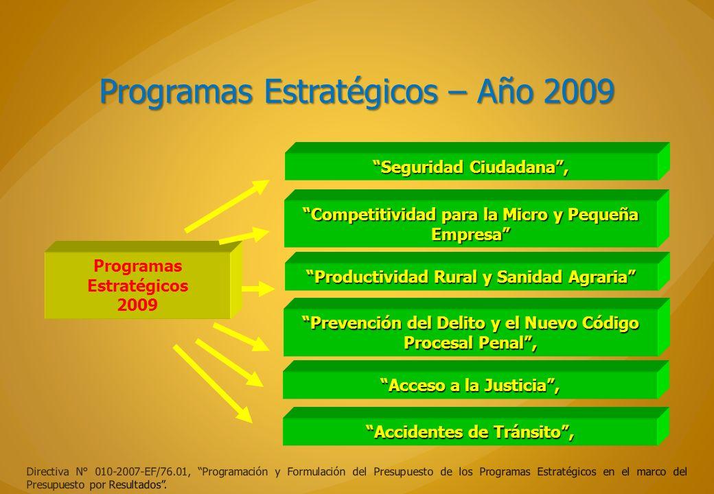 Programas Estratégicos – Año 2009 Directiva N° 010-2007-EF/76.01, Programación y Formulación del Presupuesto de los Programas Estratégicos en el marco