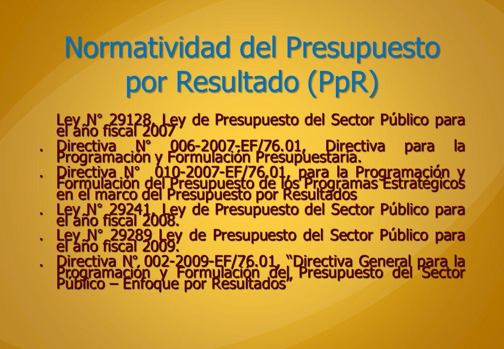 Normatividad del Presupuesto por Resultado (PpR) Ley N° 29128, Ley de Presupuesto del Sector Público para el año fiscal 2007.Directiva N° 006-2007-EF/