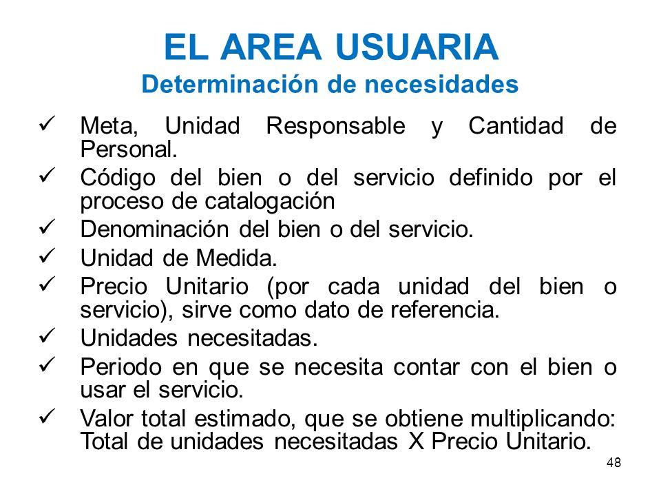 EL AREA USUARIA Determinación de necesidades I.Consiste en identificar las necesidades de bienes, servicios y obras. II.Para definir las necesidades e