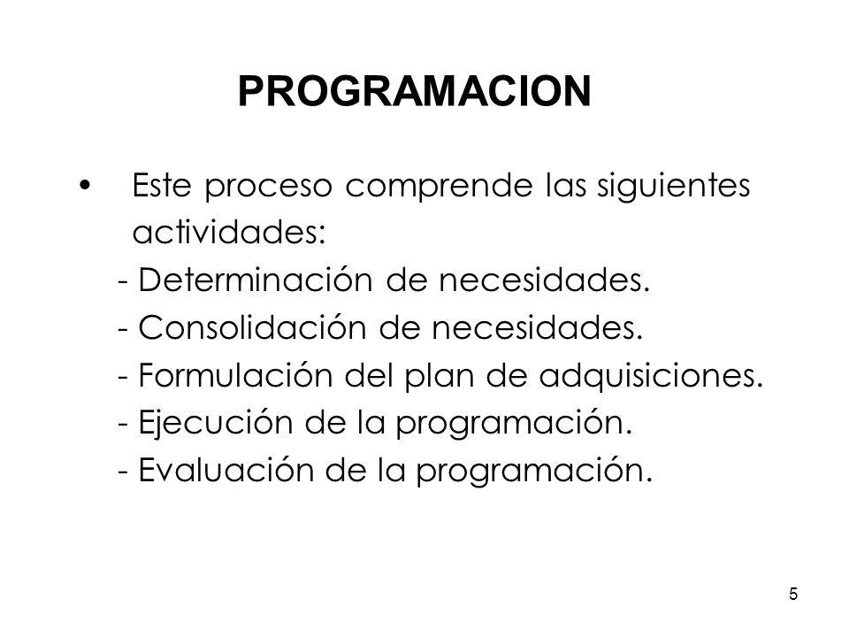 5 Este proceso comprende las siguientes actividades: - Determinación de necesidades.