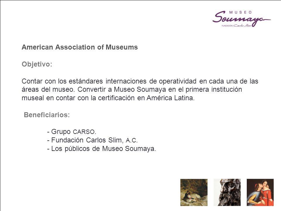 American Association of Museums Objetivo: Contar con los estándares internaciones de operatividad en cada una de las áreas del museo.