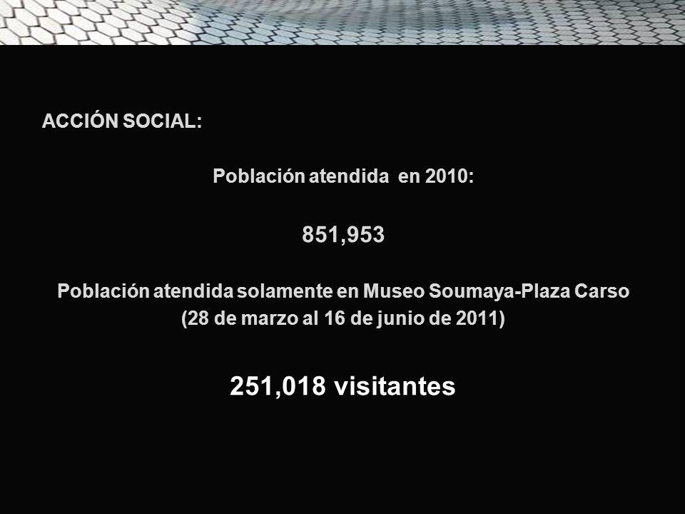 ACCIÓN SOCIAL: Población atendida en 2010: 851,953 Población atendida solamente en Museo Soumaya-Plaza Carso (28 de marzo al 16 de junio de 2011) 251,018 visitantes