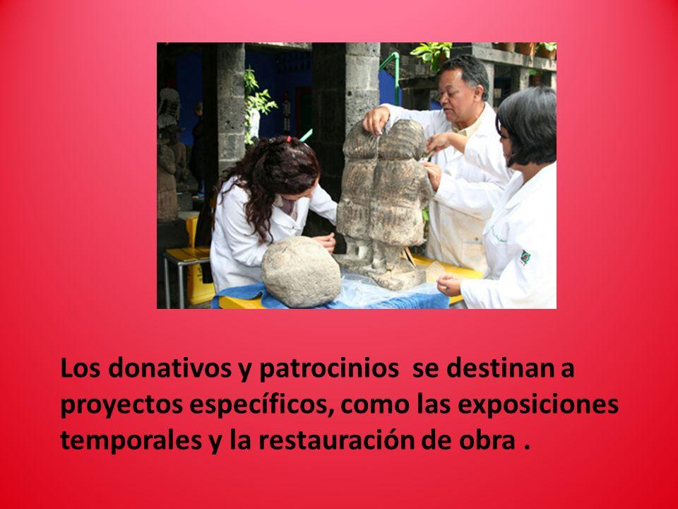 Los donativos y patrocinios se destinan a proyectos específicos, como las exposiciones temporales y la restauración de obra.
