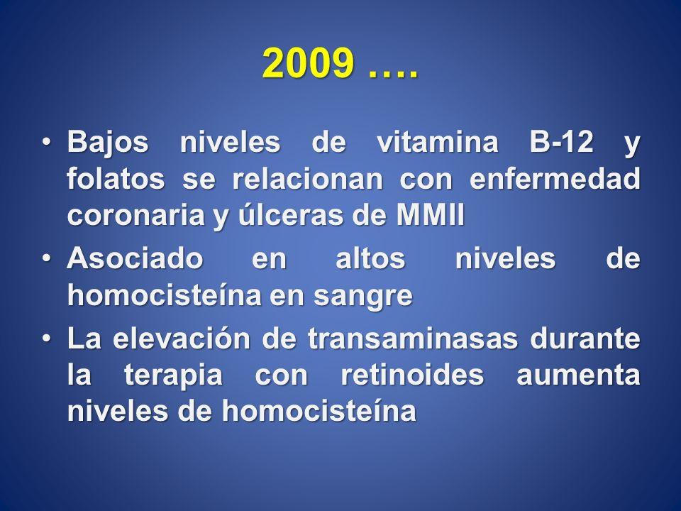 2009 …. Bajos niveles de vitamina B-12 y folatos se relacionan con enfermedad coronaria y úlceras de MMIIBajos niveles de vitamina B-12 y folatos se r
