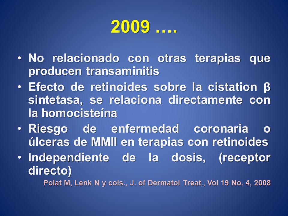 2009 …. No relacionado con otras terapias que producen transaminitisNo relacionado con otras terapias que producen transaminitis Efecto de retinoides