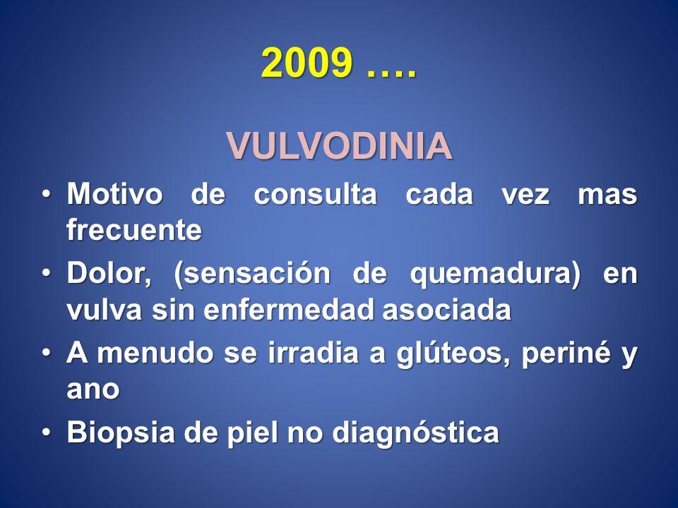 2009 …. VULVODINIA Motivo de consulta cada vez mas frecuenteMotivo de consulta cada vez mas frecuente Dolor, (sensación de quemadura) en vulva sin enf