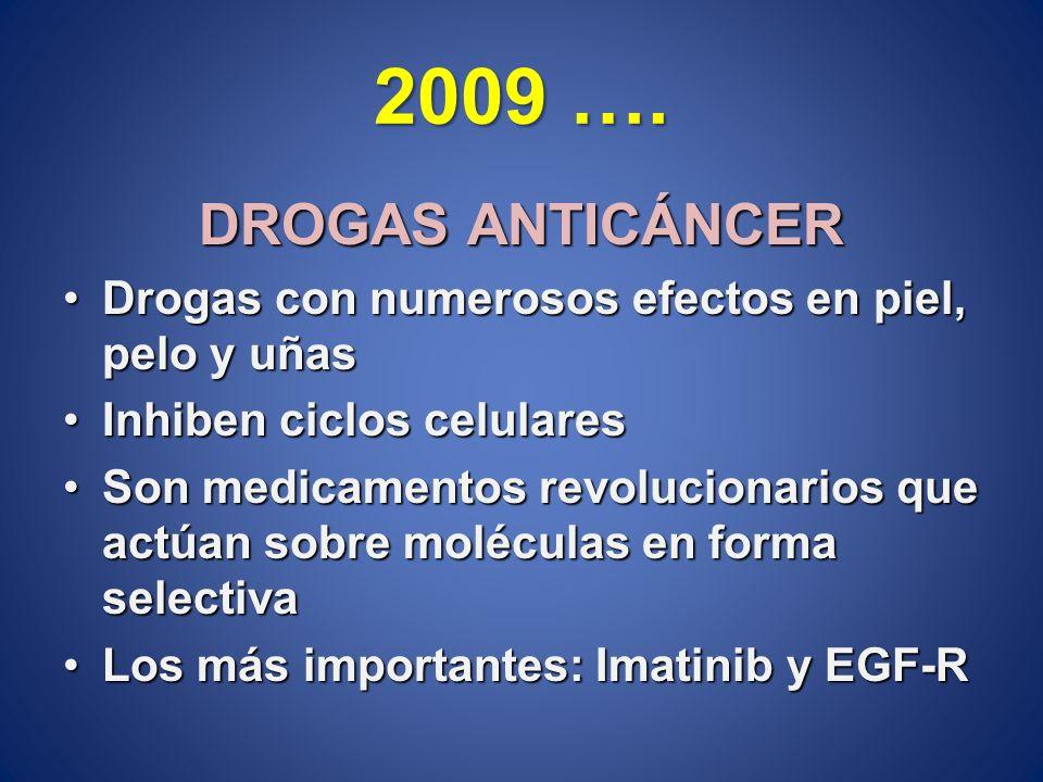 2009 …. DROGAS ANTICÁNCER Drogas con numerosos efectos en piel, pelo y uñasDrogas con numerosos efectos en piel, pelo y uñas Inhiben ciclos celularesI