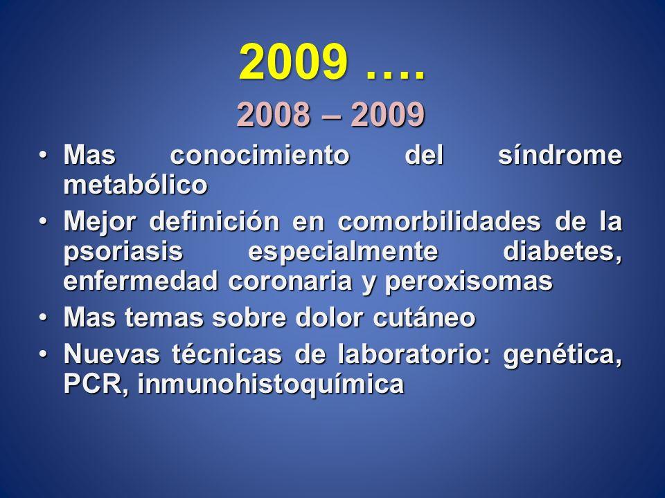 2009 …. 2008 – 2009 Mas conocimiento del síndrome metabólicoMas conocimiento del síndrome metabólico Mejor definición en comorbilidades de la psoriasi