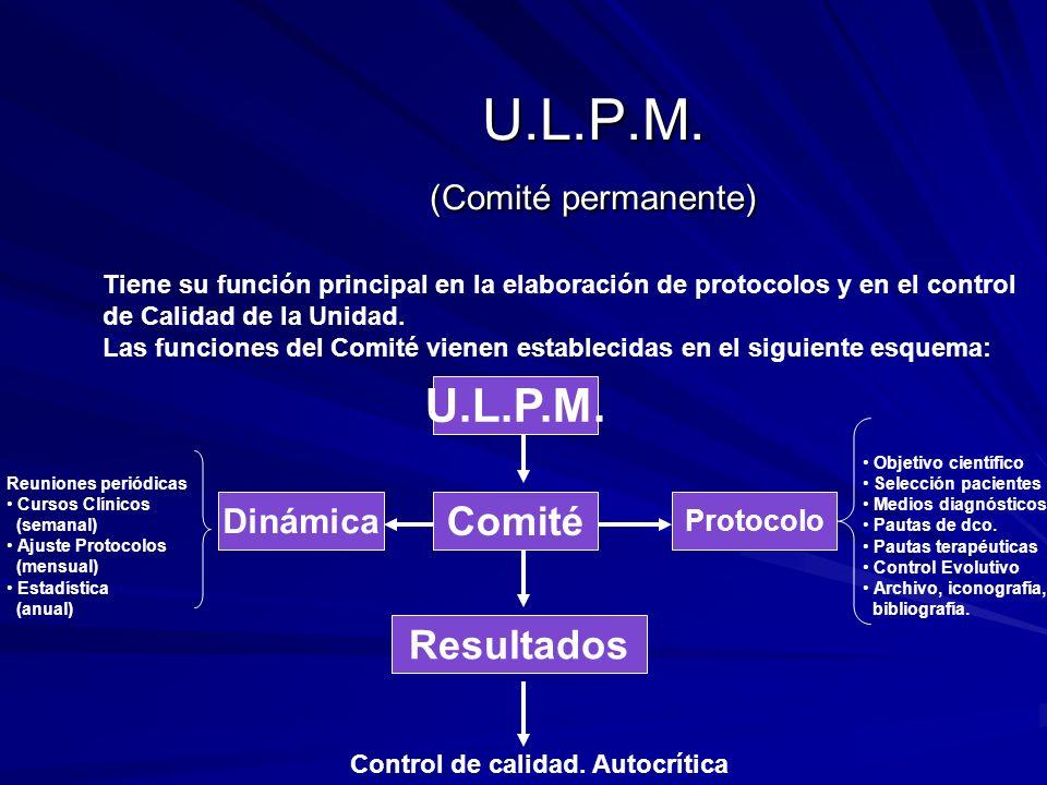 U.L.P.M. (Comité permanente) Tiene su función principal en la elaboración de protocolos y en el control de Calidad de la Unidad. Las funciones del Com