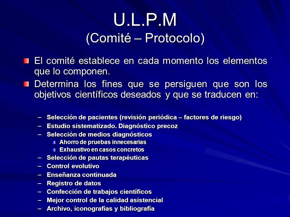 U.L.P.M (Comité – Protocolo) El comité establece en cada momento los elementos que lo componen. Determina los fines que se persiguen que son los objet