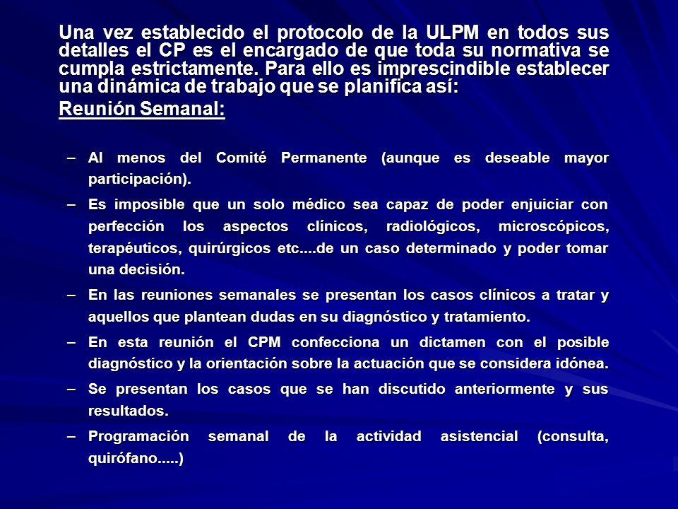 Una vez establecido el protocolo de la ULPM en todos sus detalles el CP es el encargado de que toda su normativa se cumpla estrictamente. Para ello es