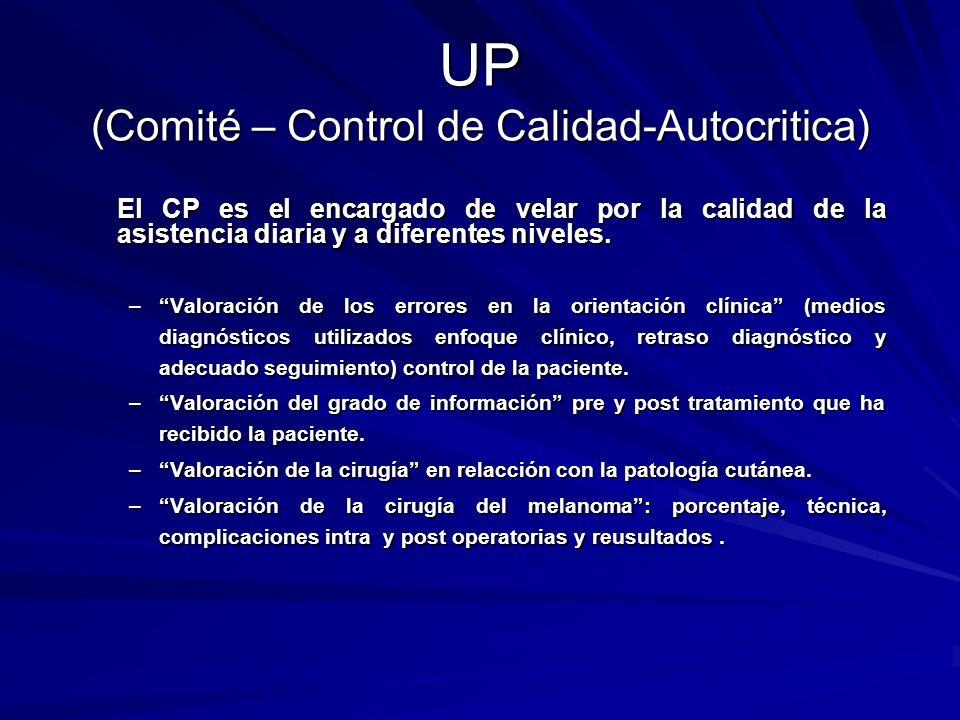 UP (Comité – Control de Calidad-Autocritica) El CP es el encargado de velar por la calidad de la asistencia diaria y a diferentes niveles. –Valoración