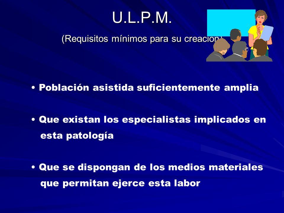 U.L.P.M. (Requisitos mínimos para su creación) Población asistida suficientemente amplia Que existan los especialistas implicados en esta patología Qu