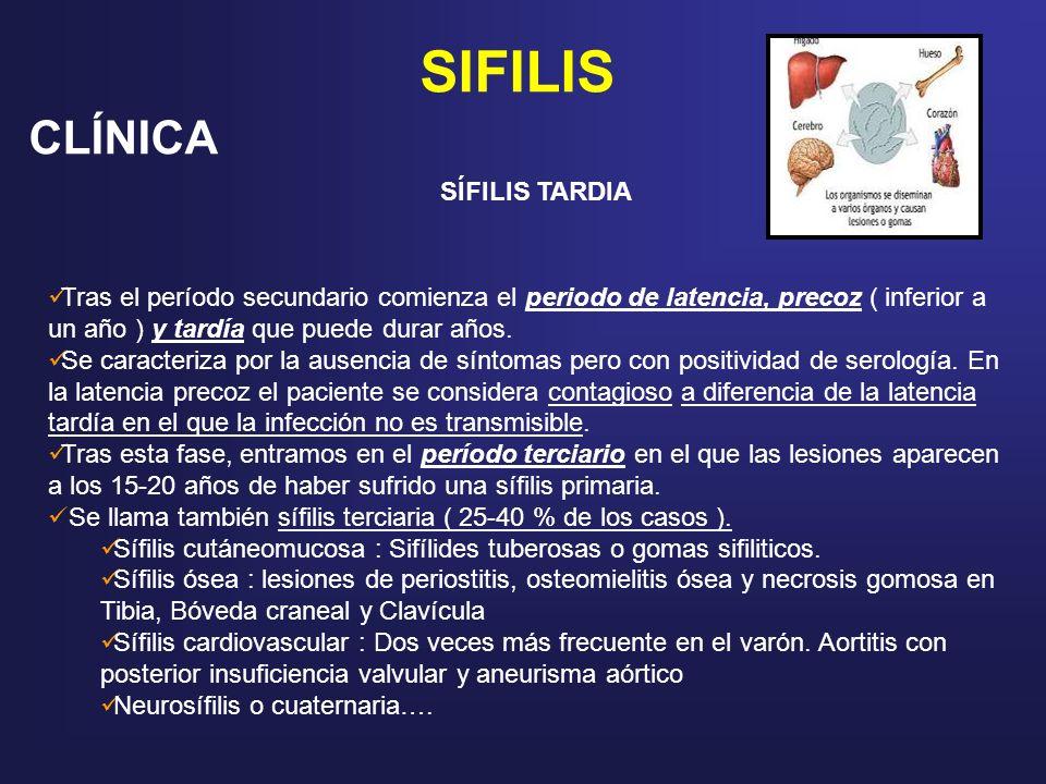 SIFILIS CLÍNICA SÍFILIS TARDIA Tras el período secundario comienza el periodo de latencia, precoz ( inferior a un año ) y tardía que puede durar años.