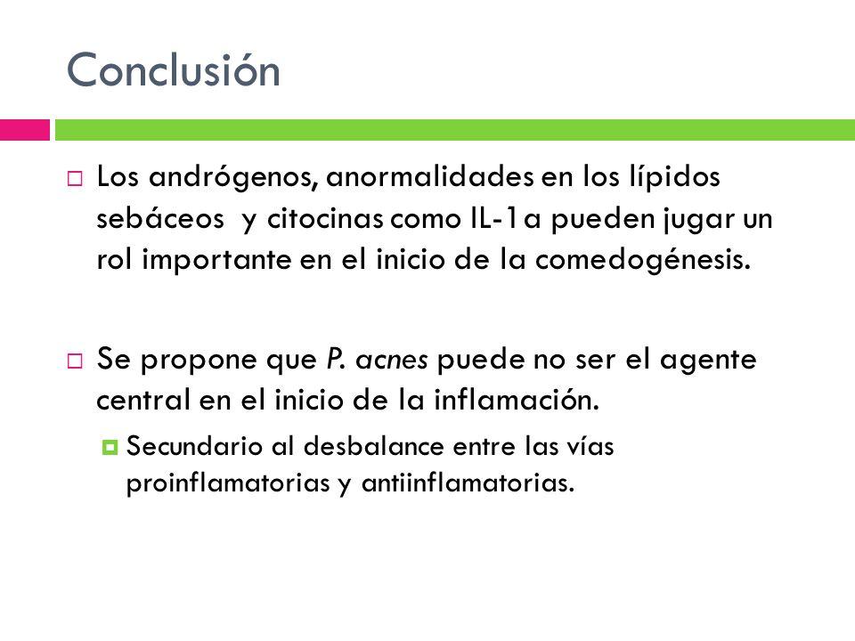 Conclusión Los andrógenos, anormalidades en los lípidos sebáceos y citocinas como IL-1a pueden jugar un rol importante en el inicio de la comedogénesi