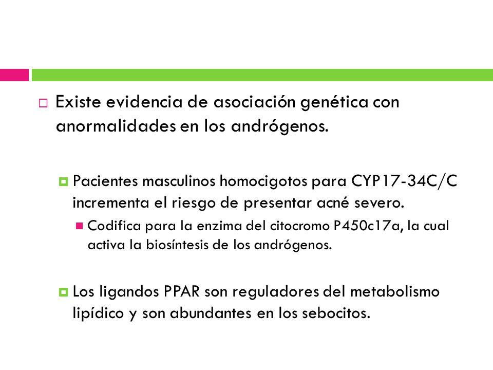 Existe evidencia de asociación genética con anormalidades en los andrógenos. Pacientes masculinos homocigotos para CYP17-34C/C incrementa el riesgo de