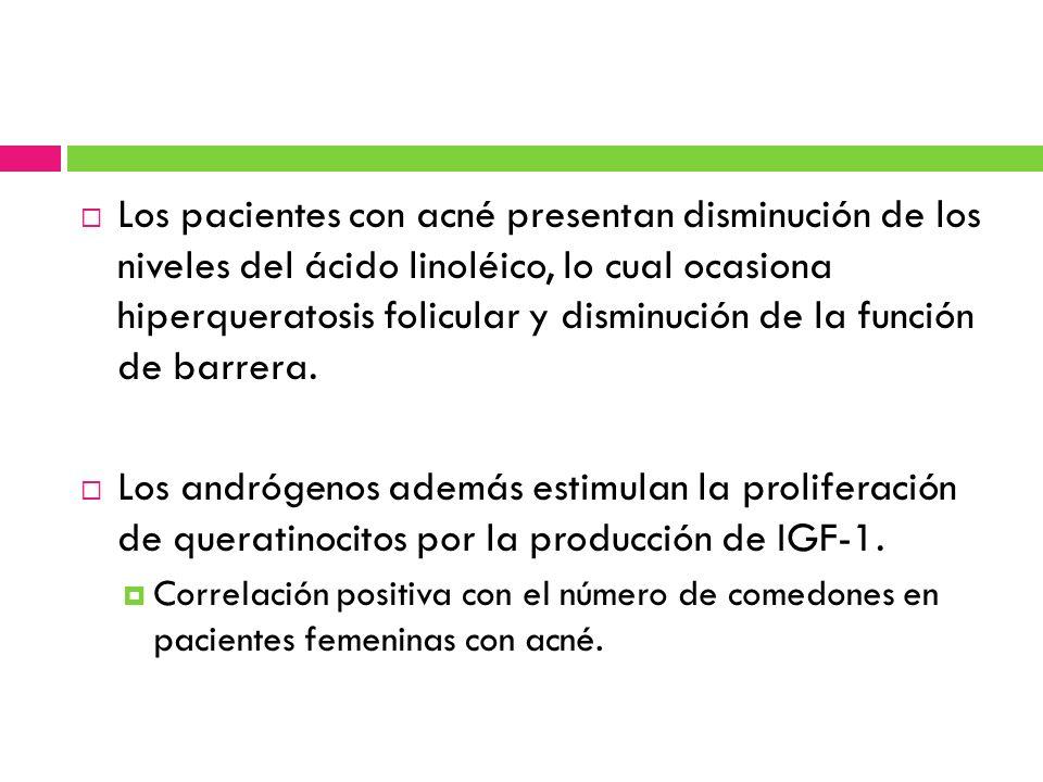 Los pacientes con acné presentan disminución de los niveles del ácido linoléico, lo cual ocasiona hiperqueratosis folicular y disminución de la funció