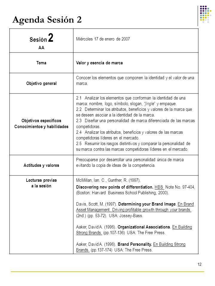 12 Agenda Sesión 2 Sesión 2 AA Miércoles 17 de enero de 2007 TemaValor y esencia de marca Objetivo general Conocer los elementos que componen la ident