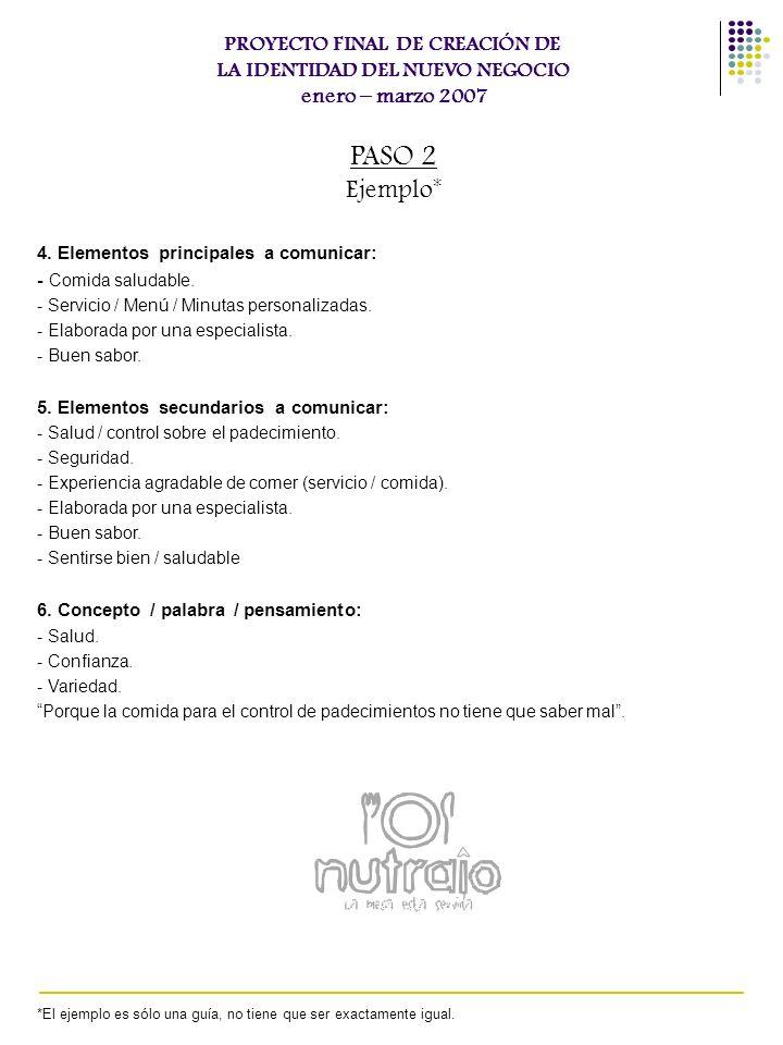 4. Elementos principales a comunicar: - Comida saludable. - Servicio / Menú / Minutas personalizadas. - Elaborada por una especialista. - Buen sabor.