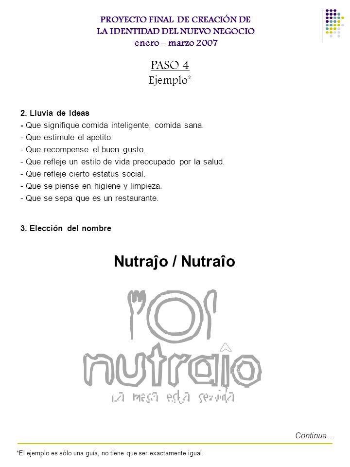PROYECTO FINAL DE CREACIÓN DE LA IDENTIDAD DEL NUEVO NEGOCIO enero – marzo 2007 2. Lluvia de Ideas - Que signifique comida inteligente, comida sana. -