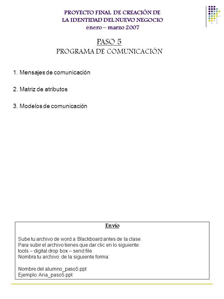 1. Mensajes de comunicación 2. Matriz de atributos 3. Modelos de comunicación PROYECTO FINAL DE CREACIÓN DE LA IDENTIDAD DEL NUEVO NEGOCIO enero – mar
