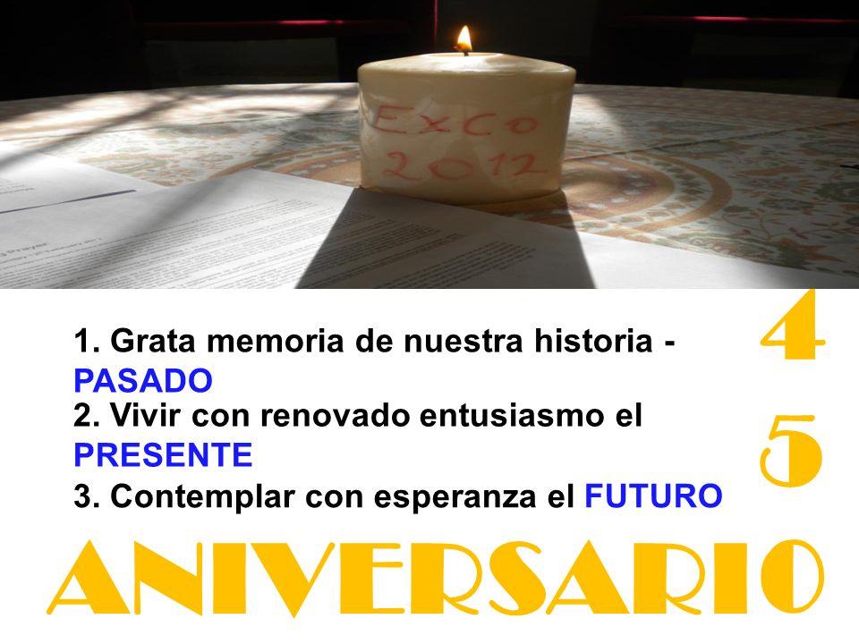 3. Contemplar con esperanza el FUTURO 2. Vivir con renovado entusiasmo el PRESENTE 1. Grata memoria de nuestra historia - PASADO 450450 ANIVERSARI