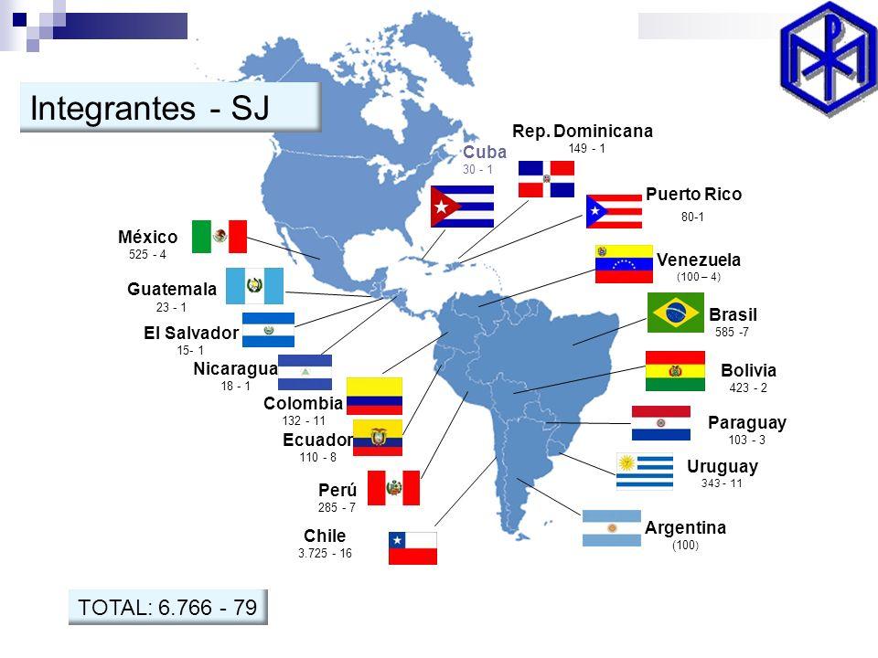 Chile 3.725 - 16 Ecuador 110 - 8 Colombia 132 - 11 Nicaragua 18 - 1 El Salvador 15- 1 Guatemala 23 - 1 México 525 - 4 Cuba 30 - 1 Rep. Dominicana 149
