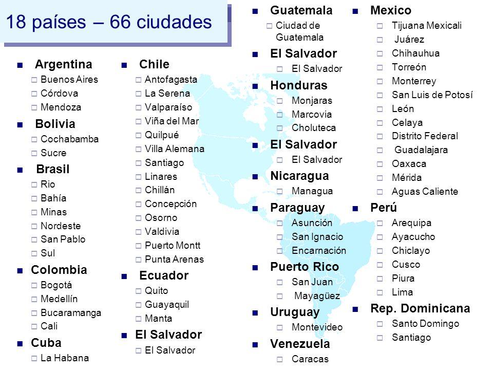 18 países – 66 ciudades Argentina Buenos Aires Córdova Mendoza Bolivia Cochabamba Sucre Brasil Rio Bahía Minas Nordeste San Pablo Sul Colombia Bogotá