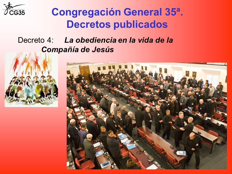 Decreto 4:La obediencia en la vida de la Compañía de Jesús Congregación General 35ª. Decretos publicados