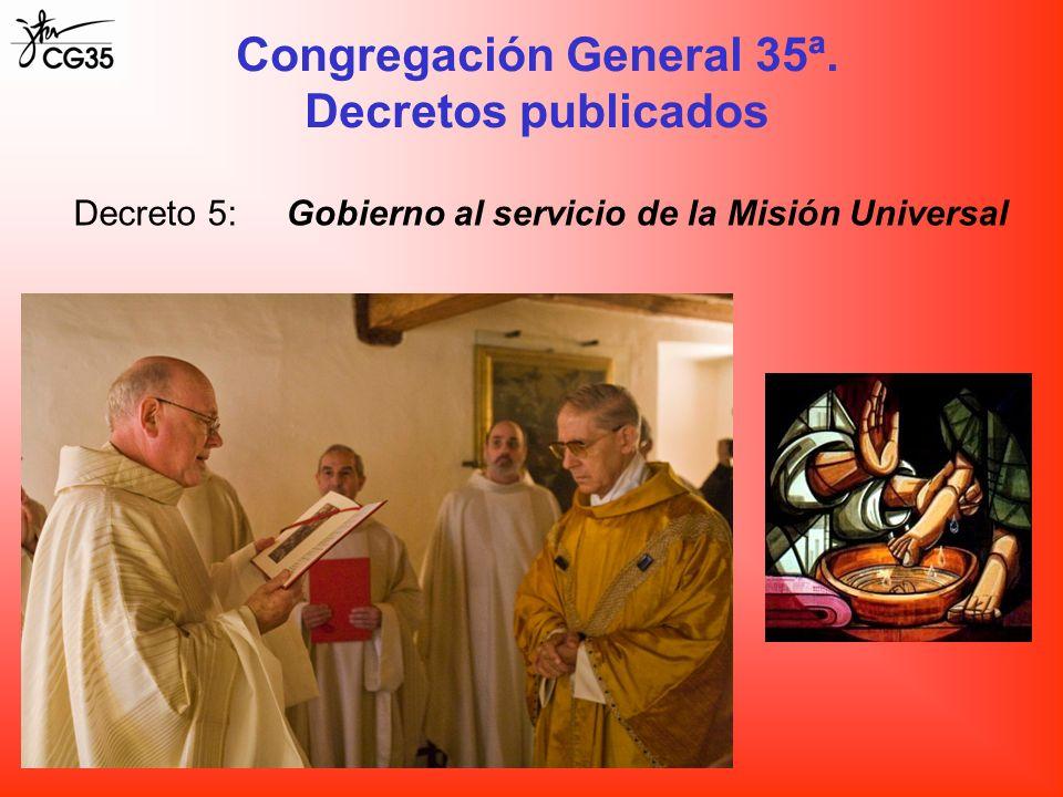 Decreto 5:Gobierno al servicio de la Misión Universal Congregación General 35ª. Decretos publicados