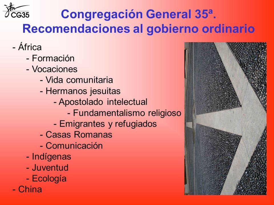 Congregación General 35ª. Recomendaciones al gobierno ordinario - África - Formación - Vocaciones - Vida comunitaria - Hermanos jesuitas - Apostolado